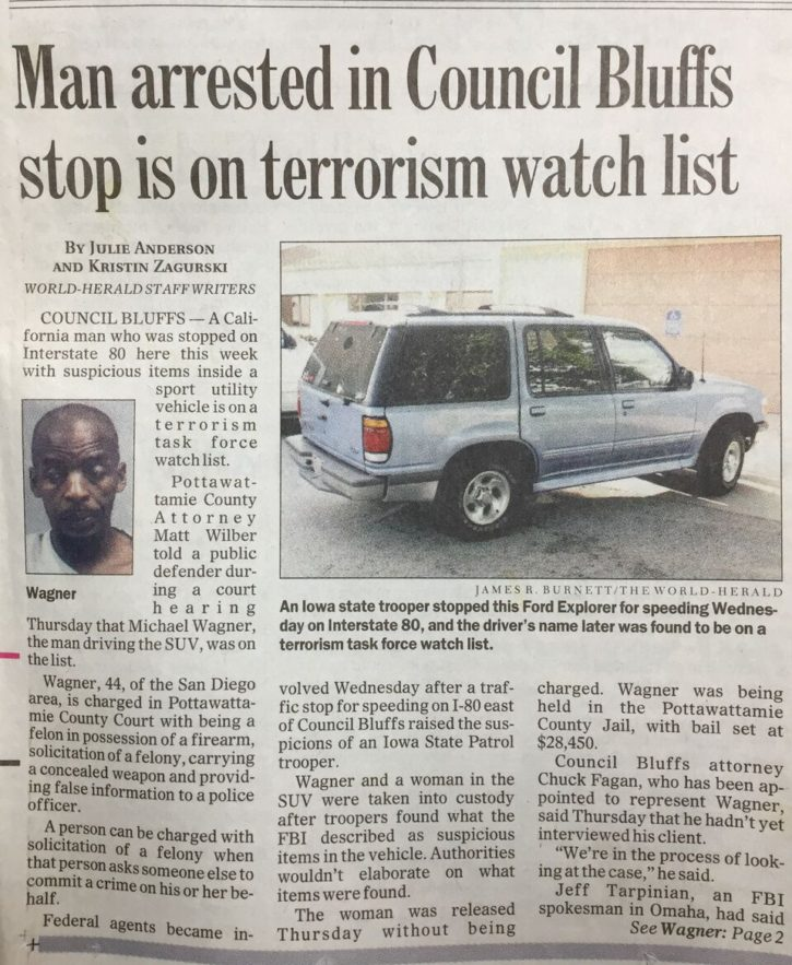 A newspaper article about a terrorist suspect Ken arrested